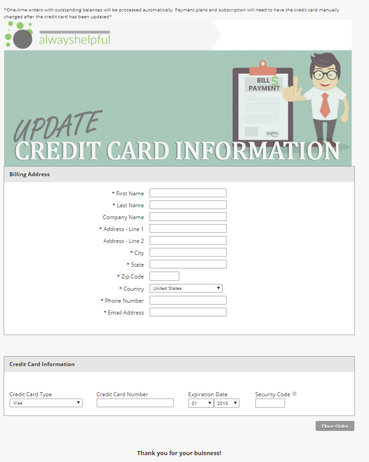 Credit Card Update Form - How To